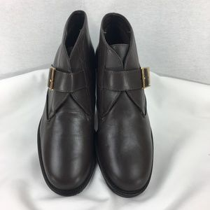 NEW Etienne Aigner Brown Leather Buckle Booties 6